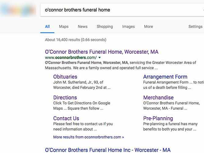 Search Screenshot - Funeral Home Web Site Search